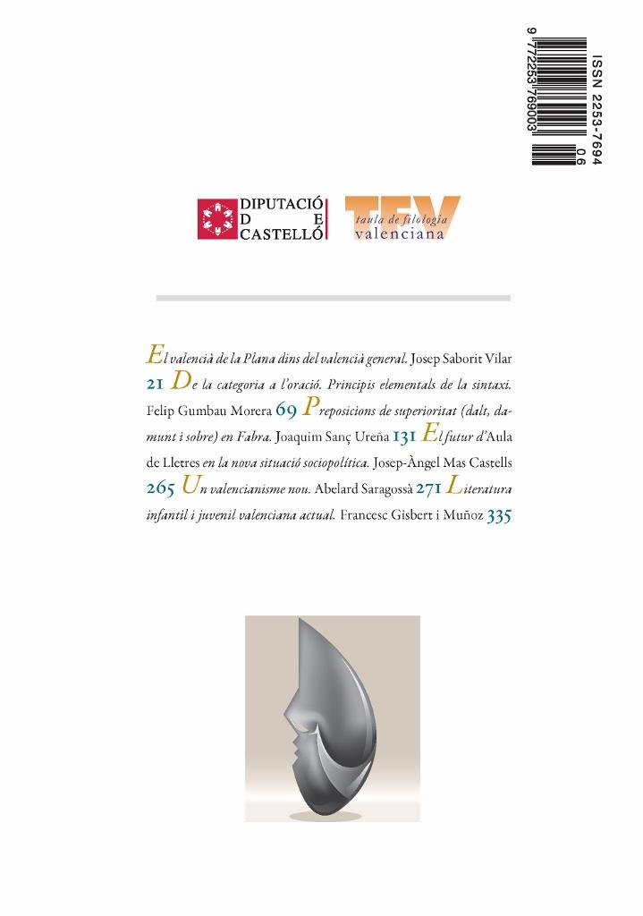 Contraportada del número 6 d'Aula de Lletres Valencianes - Revista Valenciana de Filologia